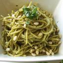 Gluten-free, Dairy-free Basil Pesto Pasta with Pine Nuts