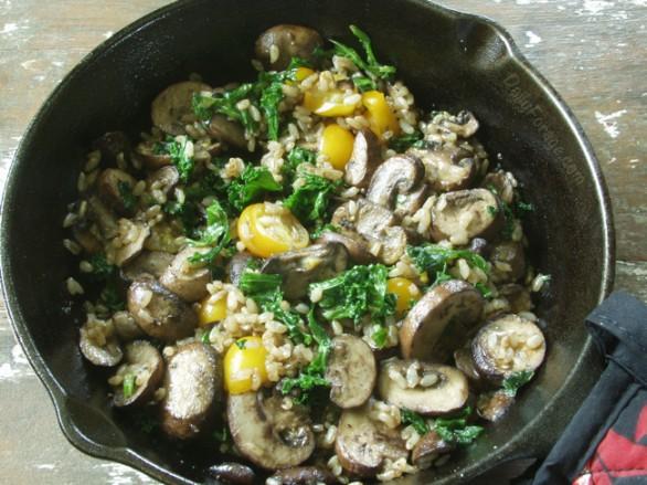 Mushroom, Kale, Brown Rice Sauté by DailyForage.com