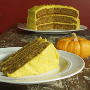 Pumpkin Cake with Ginger Buttercream Frosting