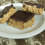 Gluten-free Dairy-free Cashew Butter Brown Rice Cereal Bars with Chocolate Topping