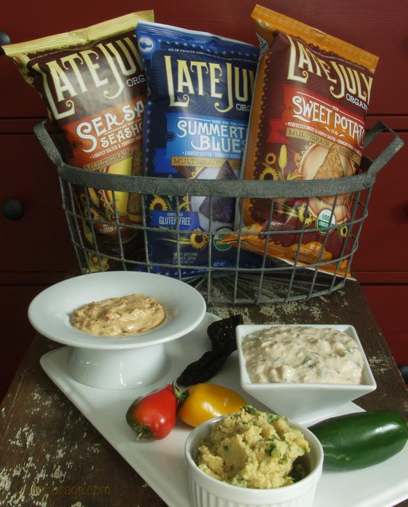 Late July Chips with Three Chile Dips