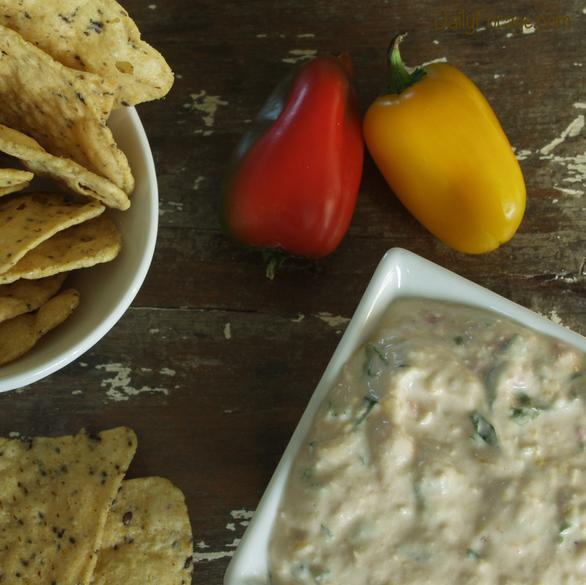 Late July Chips with Roasted Pepper Basil Dip