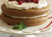 Gluten-free Dairy-free Raspberry Polka Dot Cake with Non-dairy Whipped Cream Topping