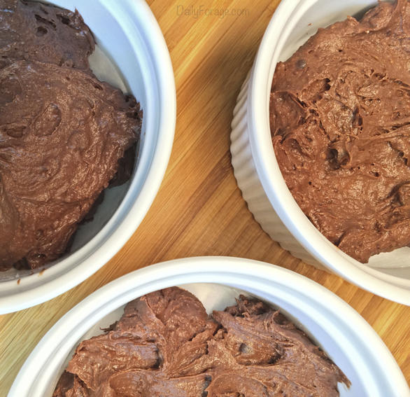 Gluten, Dairy, Soy Free Double Chocolate Cake Baked in Small Ramekins. Batter is thick in this recipe.