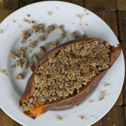 Gluten-free, Dairy-free Twice Baked Sweet Potatoes with Pecan Streusel Topping by DailyForage.com