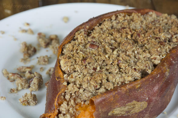 Gluten-free, Dairy-free Twice Baked Sweet Potatoes with Pecan Streusel Topping