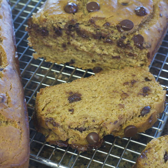 Lower Glycemic One Flour Gluten-free, Dairy-free Chocolate Chip Banana Bread by DailyForage.com