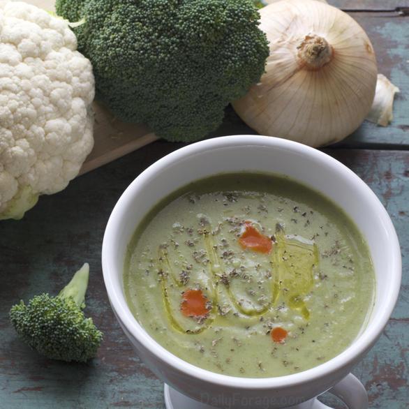 Vegan Gluten Free Cruciferous Broccoli Cauliflower Soup, DailyForage.com