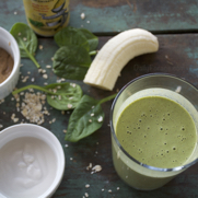 Gluten Free Vegan Green Spinach Oatmeal Breakfast Smoothie by DailyForage.com