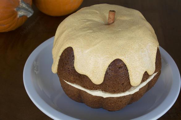 Gluten-free Pumpkin Bundt Cake with Dairy-free Butter Cream Cheese Frosting by DailyForage.com