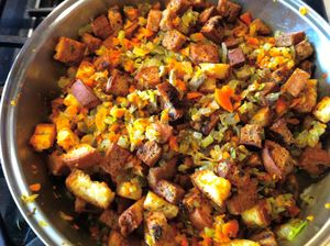 Cinnamon Apricot Sausage Stuffing GFDFEF, photo:recipe by Daily Forage