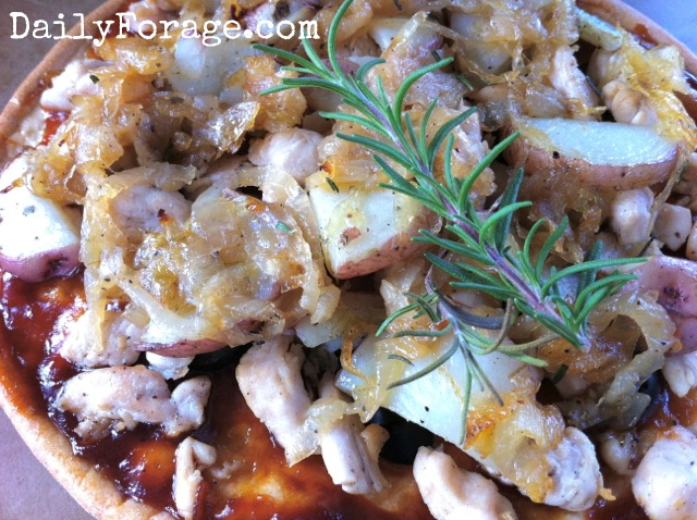 Chicken Caramelized Onion Roasted Potato Pizza gluten free dairy free