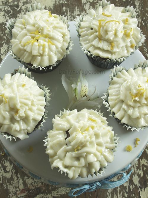 Chocolate Cupcakes with Lemon Zest Buttercream Frosting