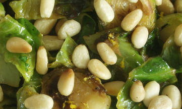 Lemon Cilantro Brussels Sprouts with Pine Nuts