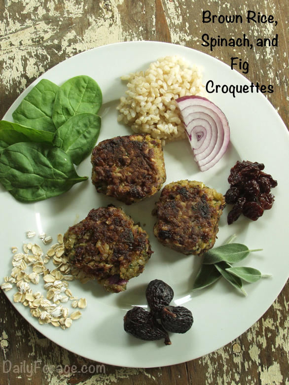 Gluten-free, Dairy-free Brown Rice, Spinach, and Fig Croquettes