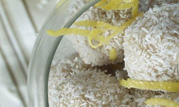 No Bake Gluten-free Dairy-free Lemon Coconut Balls by DailyForage.com