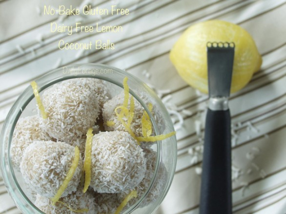 No-Bake Gluten and Dairy Free Lemon Coconut Balls by DailyForage.com