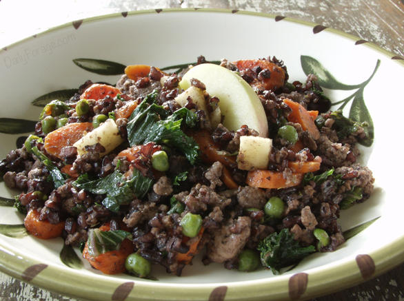 Gluten and Dairy Free Beef, Black Rice, and Apple Medley by DailyForage.com