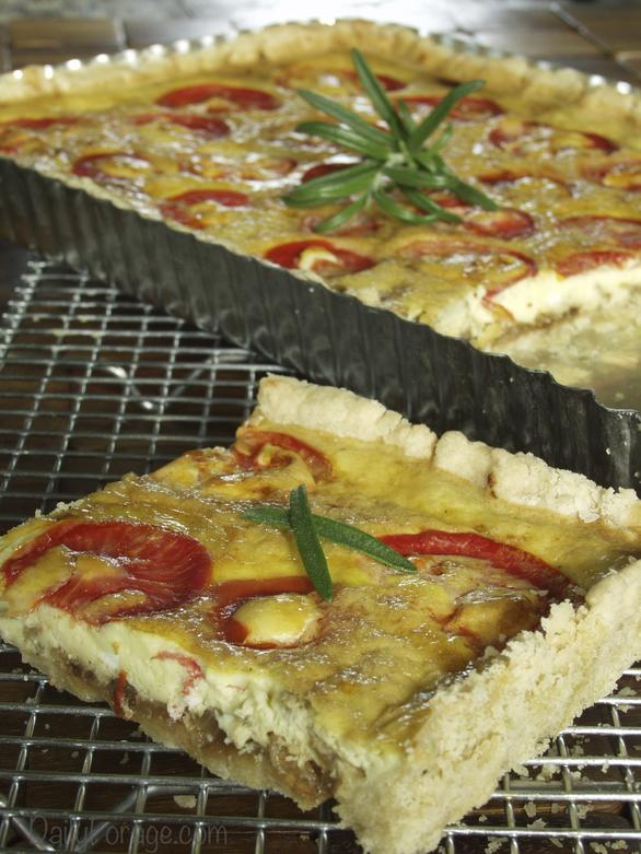 Gluten-free, Dairy-free Caramelized Onion and Tomato Tart