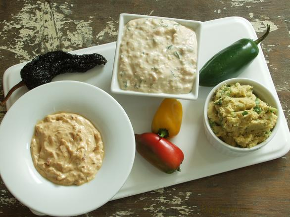 Three Gluten-free, Dairy-free, Vegan Chile Pepper Dips