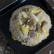 Gluten-free Dairy-free Apple Sausage Rice Egg Scramble