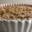 Gluten-free Dairy-free Raspberry Amaretto Peach Cobbler with Oatmeal Pecan Crumble