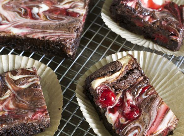 Gluten-free Dairy-free Soy-free Double Chocolate Cherry Cream Cheese Brownies