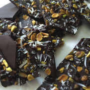 Gluten-free Vegan Pistachio Tart Cherry Dark Chocolate Bark