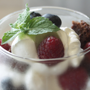 Gluten-free Dairy-free Chocolate Bundt Cake Parfait with Raspberries and Blueberries