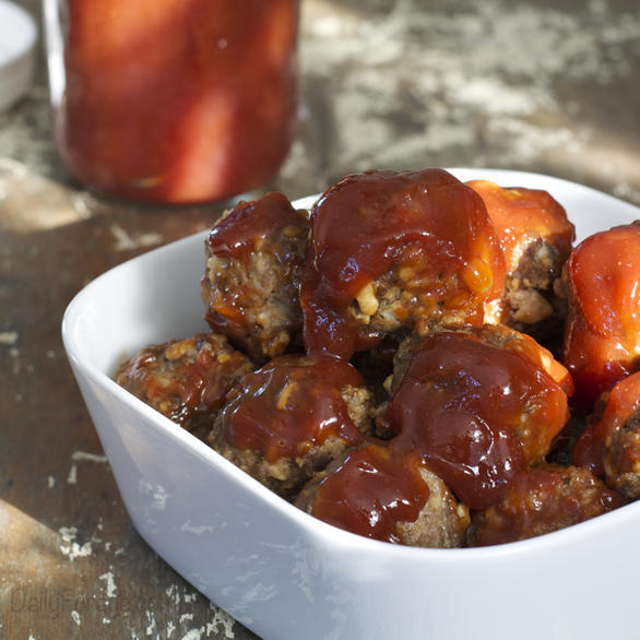 Gluten-free, Dairy-free, Oat-free BBQ Meatballs with Glutino Table Crackers