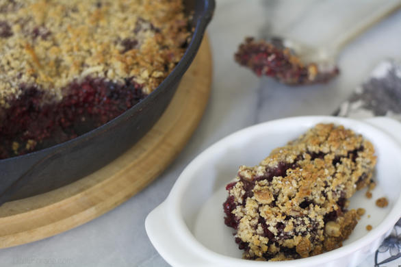 Cast Iron Berry Cobbler w/ Grain (Oat) Free Streusel Topping