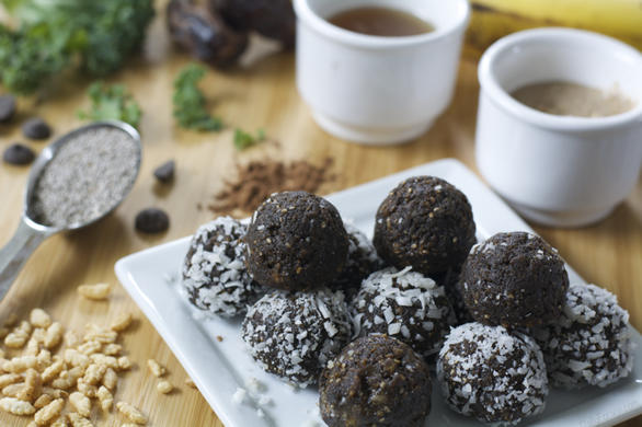 No-Bake Nut Butter and Chocolate Protein Shake Balls - a gluten-free, dairy-free recipe.