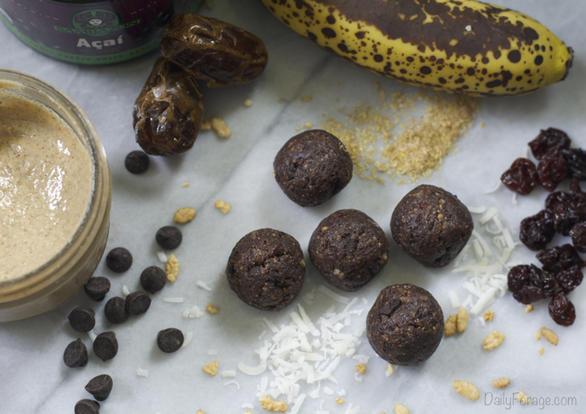 No-Bake Gluten-free, Dairy-free Cherry Chocolate Antioxidant Protein Balls by DailyForage.com