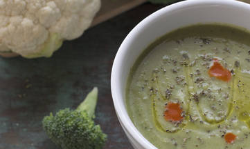 Gluten Free Vegan Cruciferous Broccoli Cauliflower Soup by DailyForage.com