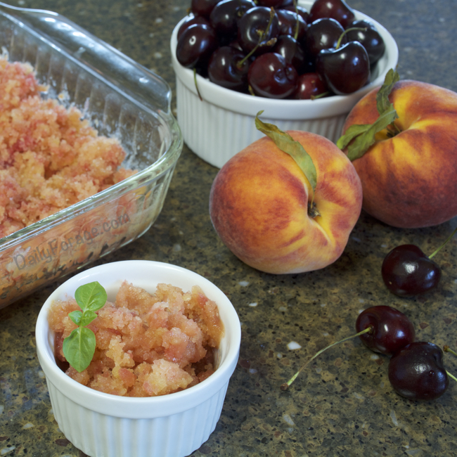 Gluten-free, Dairy-free Peach Cherry Granita by Daily Forage