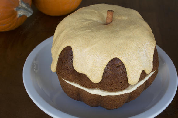Gluten-free Pumpkin Bundt Cake with Dairy-free Butter Cream Cheese Frosting by DailyForage.com