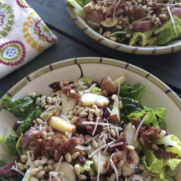 Gluten Dairy Free Prosciutto, Red Potato, Pine Nut Salad by DailyForage.com