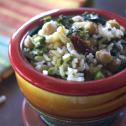 Vegan Gluten Free Chickpea Rice Broccolini Bowl by DailyForage.com