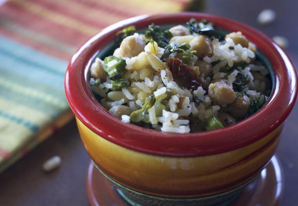 Vegan Gluten Free Chickpea Rice Broccolini Bowl by DailyForage.com