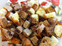 Homemade Herby Croutons raw, photo:recipe by Daily Forage