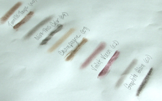 RAL Eye Shadow Swatch Sheet