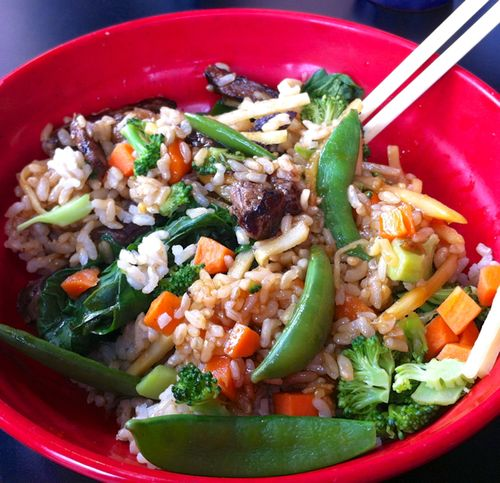 Tokyo Joe's Build-Your-Own Bowl Steak, Brown Rice, Veggies, Gluten-free Teriyaki Sauce