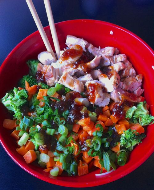 Tokyo Joe's Build-Your-Own Bowl Chicken, White Rice, Veggies, Gluten-free Teriyaki Sauce